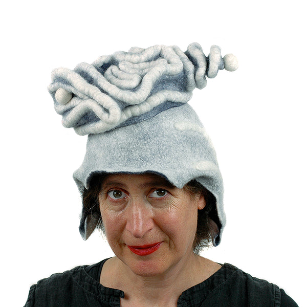 White Surrealistic Brain Hat - front view