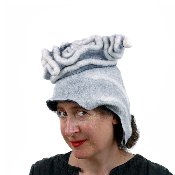 White Surrealistic Brain Hat - three quarters view
