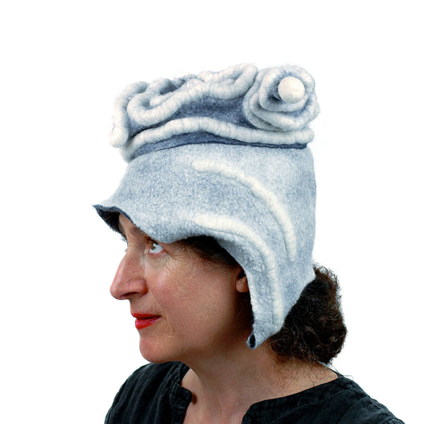 White Surrealistic Brain Hat -side view