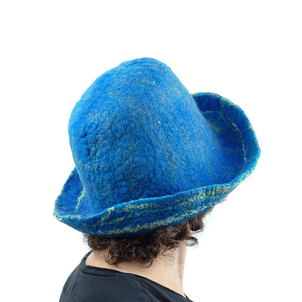 Wide Brimmed Blue and Yellow Starry Night Felted Hat - back view