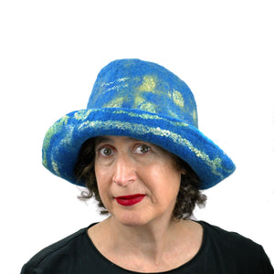 Wide Brimmed Blue and Yellow Starry Night Felted Hat - front view