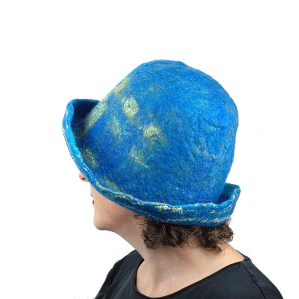 Wide Brimmed Blue and Yellow Starry Night Felted Hat - side view