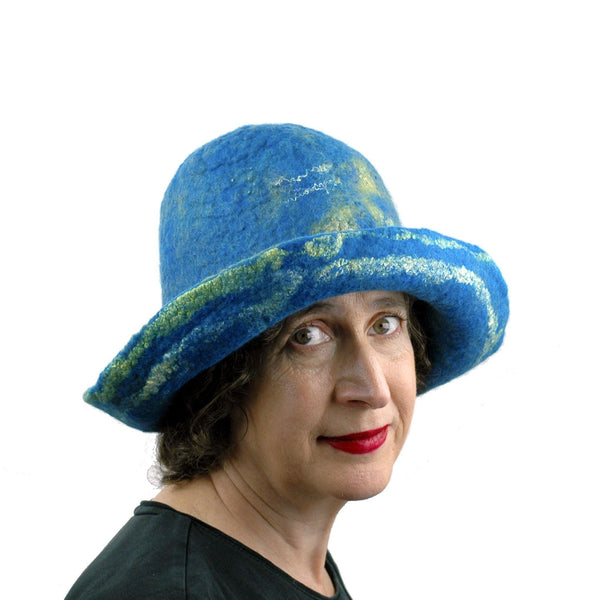 Wide Brimmed Blue and Yellow Starry Night Felted Hat - three quarters view