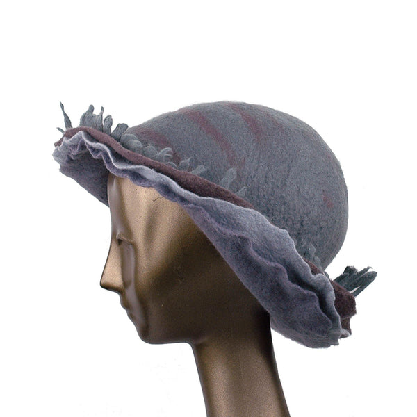 Wide Brimmed Felted Hat with Fringe in Neutral Colors - side view