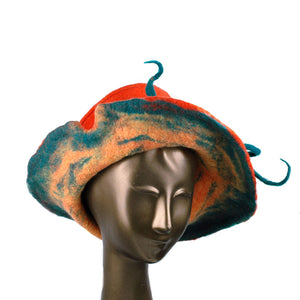 Wide Brimmed Orange Felted Hat with Peapod - front view