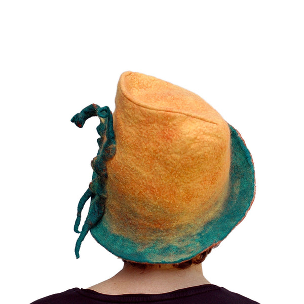 Yellow Fedora with Green Peapods - back view