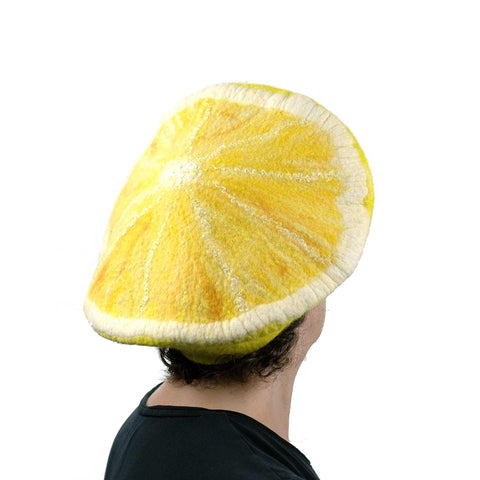 Yellow Lemon Beret - back view