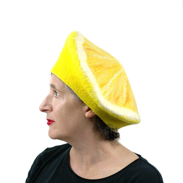 Yellow Lemon Beret - side view