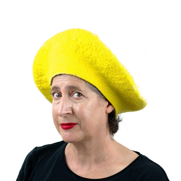 Yellow Lemon Beret - threequarters view