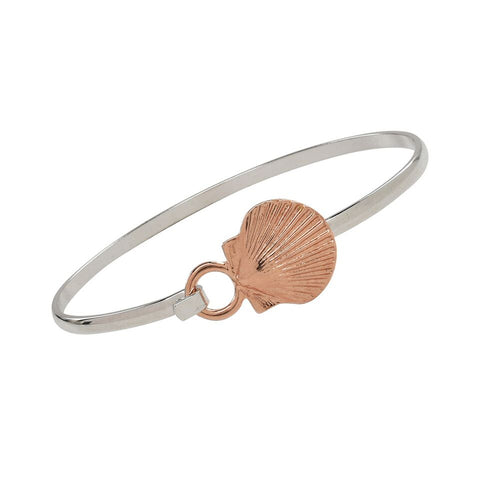 Scallop Shell Cuff Bracelet Rose Gold Two Tone