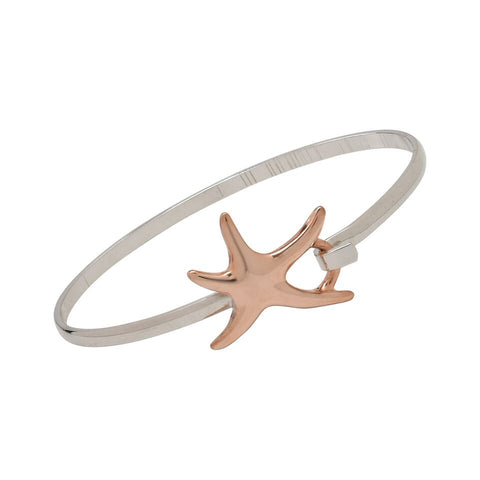 Dancing Starfish Rose Gold and Silver Two Tone Cuff Bracelet
