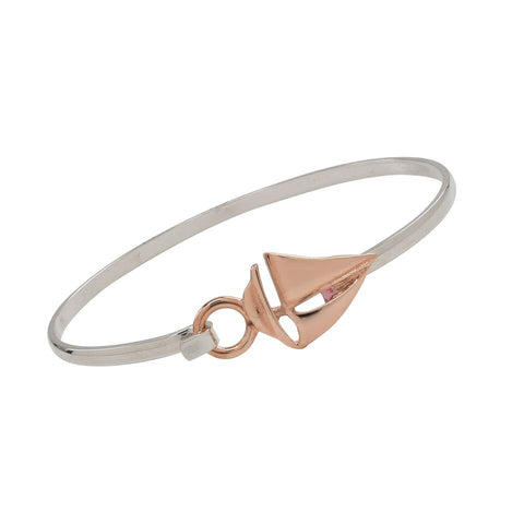 Sailboat Rose Gold and Silver Two Tone Cuff Bracelet