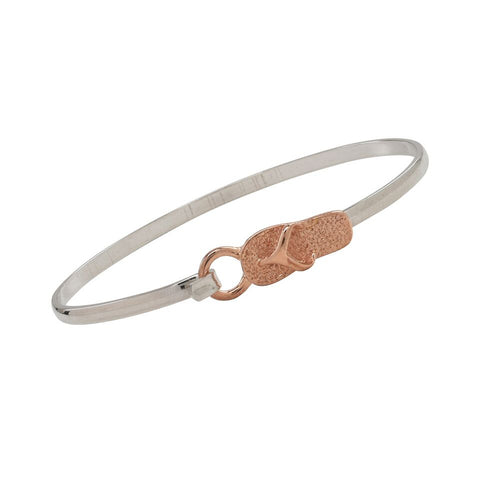 Flip Flop Rose Gold and Silver Two Tone Cuff Bracelet