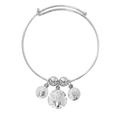Silver Tone Expandable Graduated Sand Dollar Three Charm Bracelet