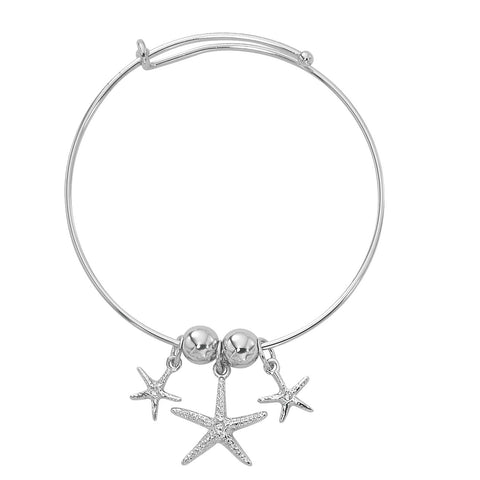 Silver Tone Expandable Graduated Starfish Three Charm Bracelet BADJ443
