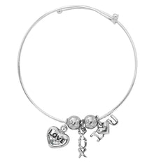 Silver Tone Expandable Love You XOX I Love You Three Charm Bracelet