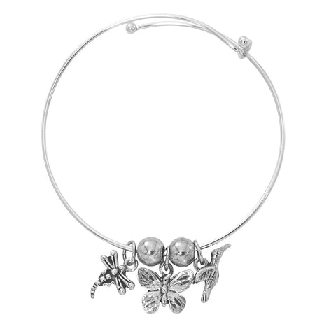 Silver Tone Expandable Dragonfly, Butterfly, Hummingbird Three Charm Bracelet BADJ452