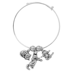 Silver Tone Expandable Cats Three Charm Bracelet