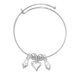 Silver Tone Expandable Hearts Three Charm Bracelet