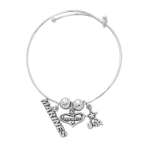 Silver Tone Expandable Marines, Freedom, USA Three Charm Bracelet BADJ460