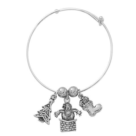Silver Tone Expandable Christmas Tree, Santa, Stocking Three Charm Bracelet BADJ461