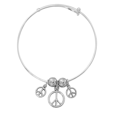 Silver Tone Expandable Graduated Peace Sign Three Charm Bracelet BADJ472