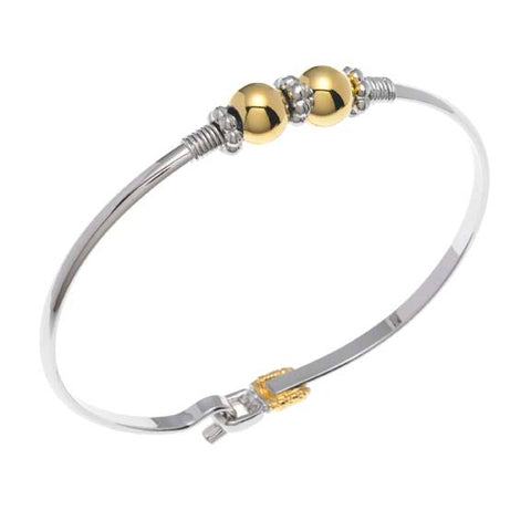 Cape Cod Two Ball With Rondelle Spacers Bracelet  Two Tone