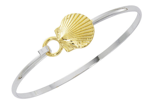 Scallop Shell Two Tone Cuff Bracelet CB413