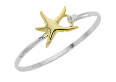 Two tone gold and silver finish dancing starfish cuff bracelet. Wholesale, USA made