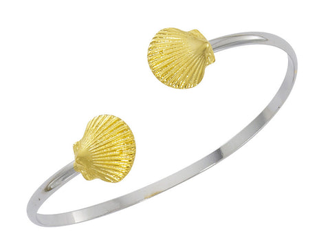 Scallop Shell Two Tone Twist Bracelet CB422T