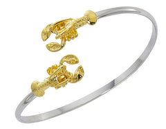 Wholesale fashon lobster twist bracelet two tone pewter with sterling silver and 24 Karat gold finish USA made