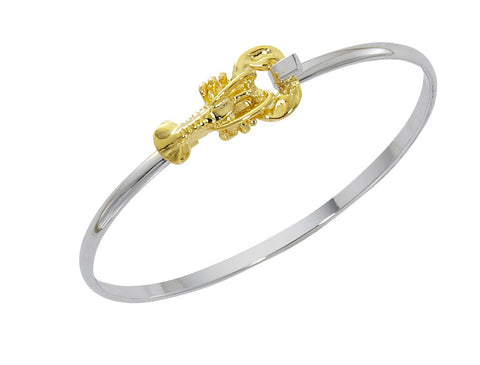 Lobster Two Tone Cuff Bracelet CB428