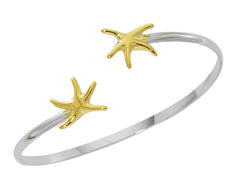 Sterling silver and gold finish dancing starfish twist bracelet. USA made, wholesale