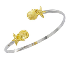 Pewter with two tone silver and gold finish starfish and scallop twist bracelet. USA made, Wholesale