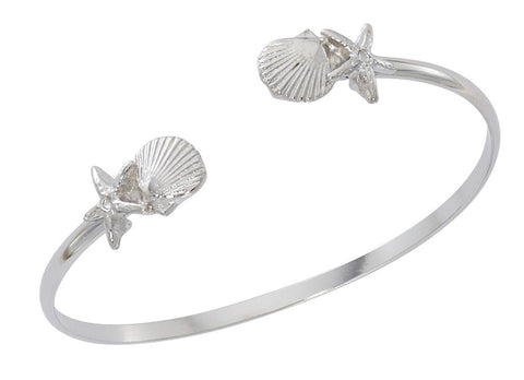 Combo Starfish and Scallop Shell Silver Twist Bracelet CB433T