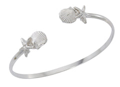 Scallop and starfish twist bracelet.  Pewter with silver finish. Wholesale, USA made