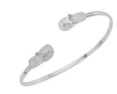 Wholesale flip flop silver twist bracelet. Pewter with sterling silver finish. USA made.