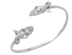 Wholesale fashion mermaid twist bracelet pewter with sterling silver finish USA made