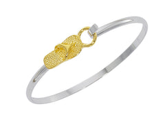 wholesale flip flop two tone cuff bracelet in pewter with gold and silver finish. USA made.