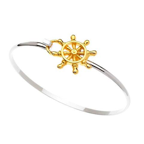 Ships Wheel Hook Bracelet Two Tone