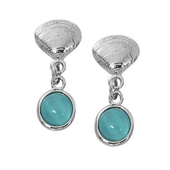 Wholesale fashion hand crafted and hand polished in the USA. Cast in lead free pewter. Layered sterling silver finish. Medium earring with a round 7mm cat's eye, Quahog Shell with Round Cat's Eye Drop Earrings Layered Sterling CE761
