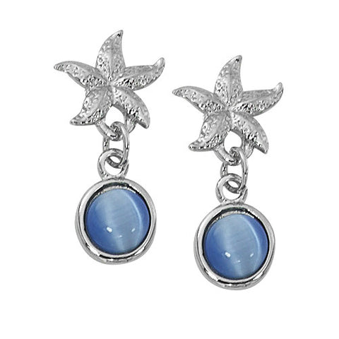 Star Fish with Round Cat's Eye Drop Earrings Layered Sterling CE763
