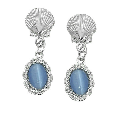 Scallop Shell with Oval Cat's Eye Drop Earrings Layered Sterling CE764