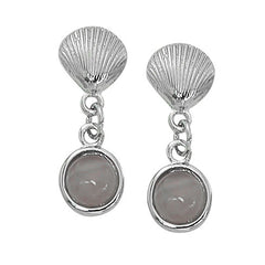 Wholesale fashion hand crafted and hand polished in the USA. Cast in lead free pewter. Layered sterling silver finish. Medium earring with a round 7mm cat's eye.