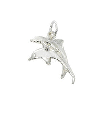 Double dolphin charm. Pewter with silver or gold finish. USA made, wholesale.