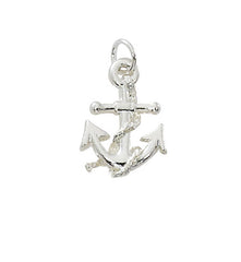 wholesale anchor charm in pewter with gold or silver finish.  USA made
