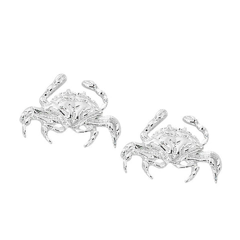 Layered Sterling Blue Crab Stud Earrings CRB600