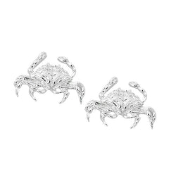 Layered Sterling Blue Crab Stud Earrings CRB600. Wholesale fashion hand crafted and hand polished in the USA. Cast in lead free pewter. Layered sterling silver finish. Small stud earrings.