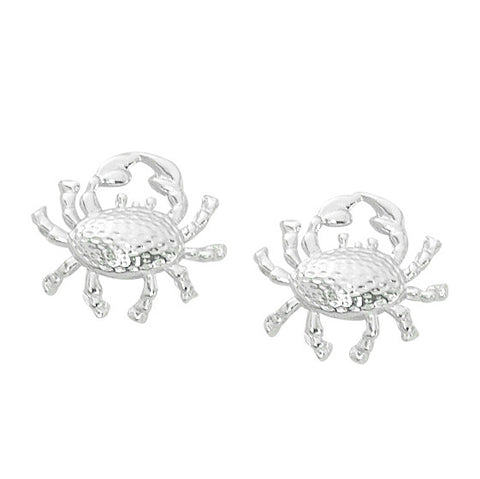 Layered Sterling Crab Stud Earrings CRB601