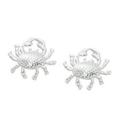 Layered Sterling Crab Stud Earrings CRB601. Wholesale fashion hand crafted and hand polished in the USA. Cast in lead free pewter. Layered sterling silver finish. Small stud earrings.